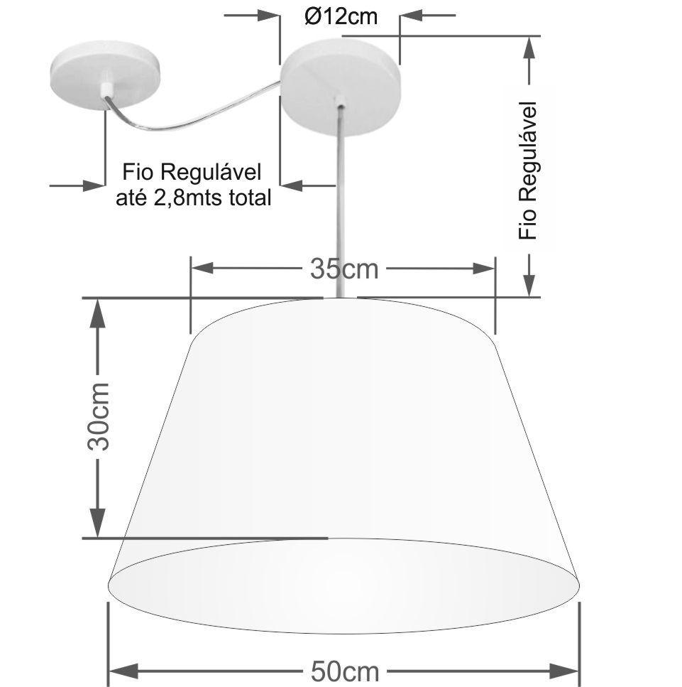 Lustre Pendente Cone Com Desvio de Centro Vivare Md-4278 Cúpula em Tecido 35x50cm - Bivolt