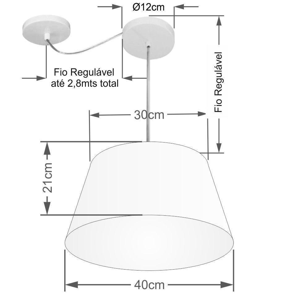 Lustre Pendente Cone Com Desvio de Centro Vivare Md-4279 Cúpula em Tecido 30x40cm - Bivolt