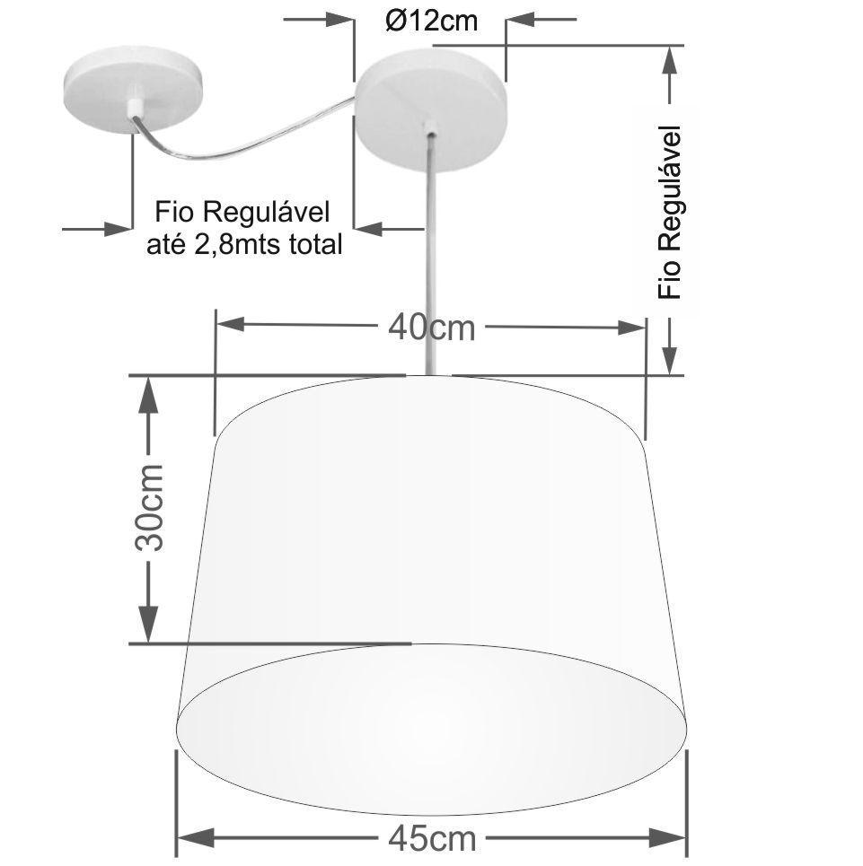 Lustre Pendente Cone Com Desvio Md-4277 Cúpula30/40x45cm Preto - Bivolt