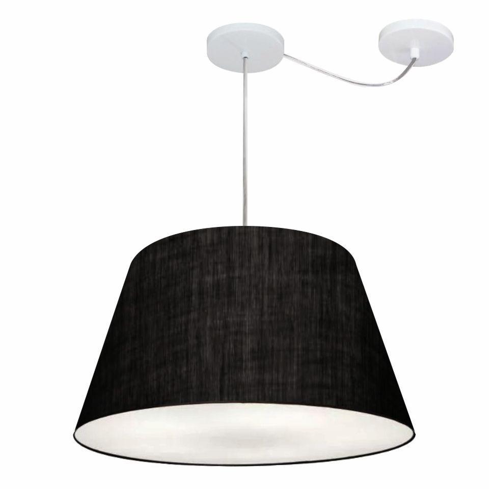 Lustre Pendente Cone Com Desvio Md-4278 Cúpula30/35x50cm Preto - Bivolt