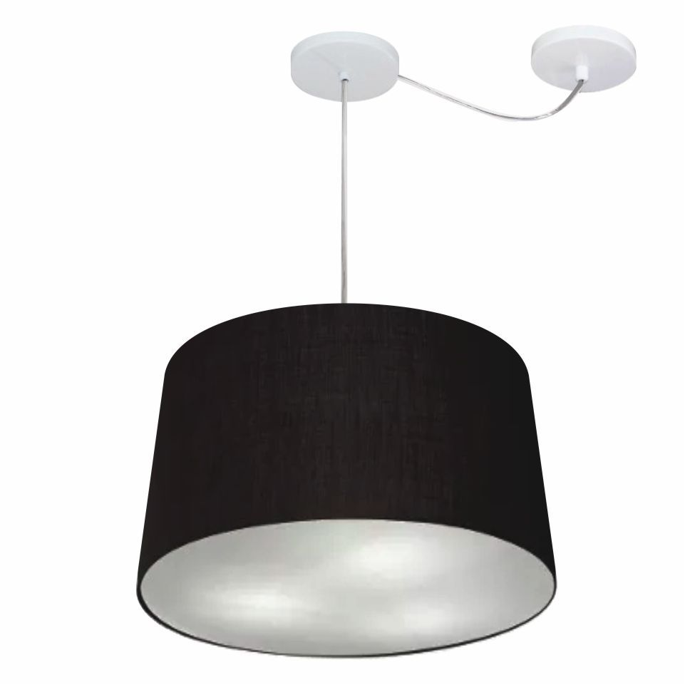 Lustre Pendente Cone Com Desvio Md-4281 Cúpula30/40x45cm Preto - Bivolt