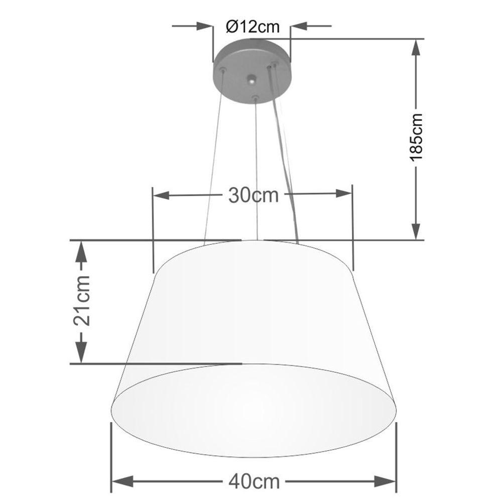 Lustre Pendente Cone Md-4001 Cúpula em Tecido 21/40x30cm Algodão Crú - Bivolt