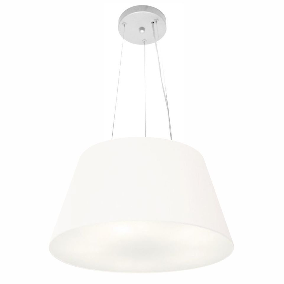 Lustre Pendente Cone Md-4001 Cúpula em Tecido 21/40x30cm Branco - Bivolt