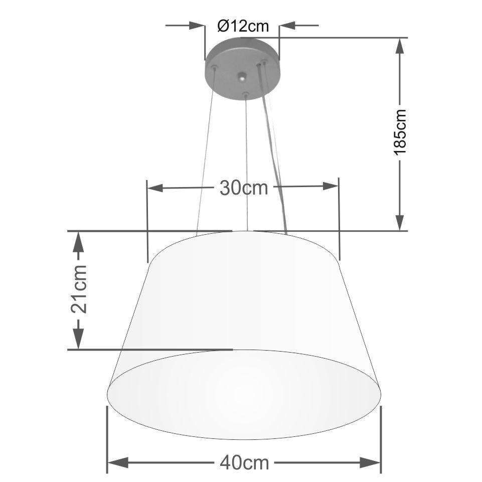 Lustre Pendente Cone Md-4001 Cúpula em Tecido 21/40x30cm Rustico Bege - Bivolt