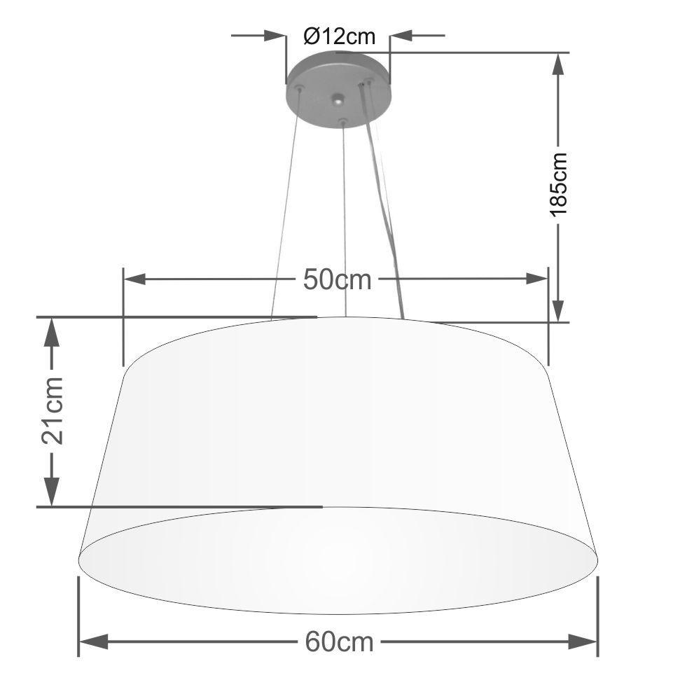 Lustre Pendente Cone Md-4002 Cúpula em Tecido 21/60x50cm Algodão Crú - Bivolt