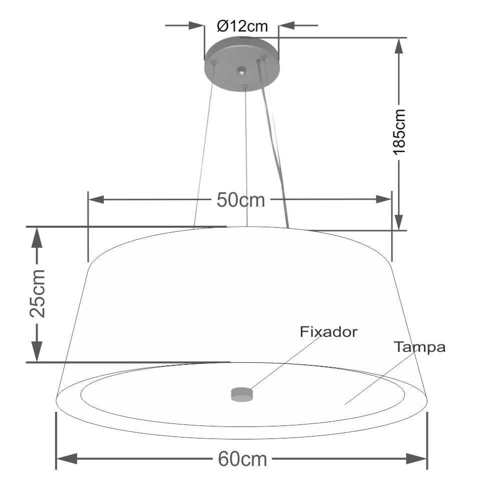 Lustre Pendente Cone Md-4015 Cúpula Forrada em Tecido 25/60x50cm Preto / Branco - Bivolt