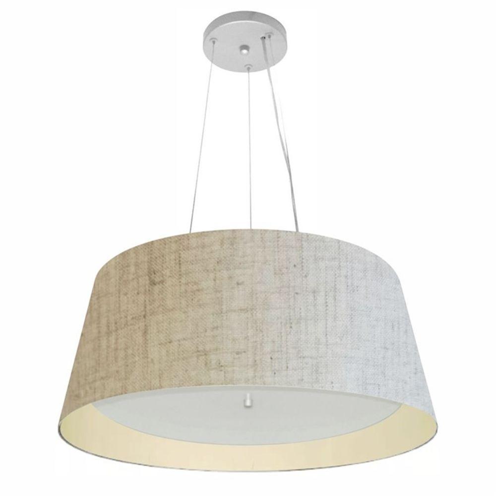Lustre Pendente Cone Md-4015 Cúpula Forrada em Tecido 25/60x50cm Rustico Bege / Bege - Bivolt