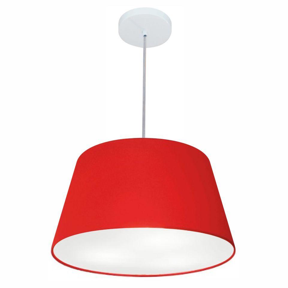 Lustre Pendente Cone Md-4021 Cúpula em Tecido 21/40x30cm Vermelho - Bivolt