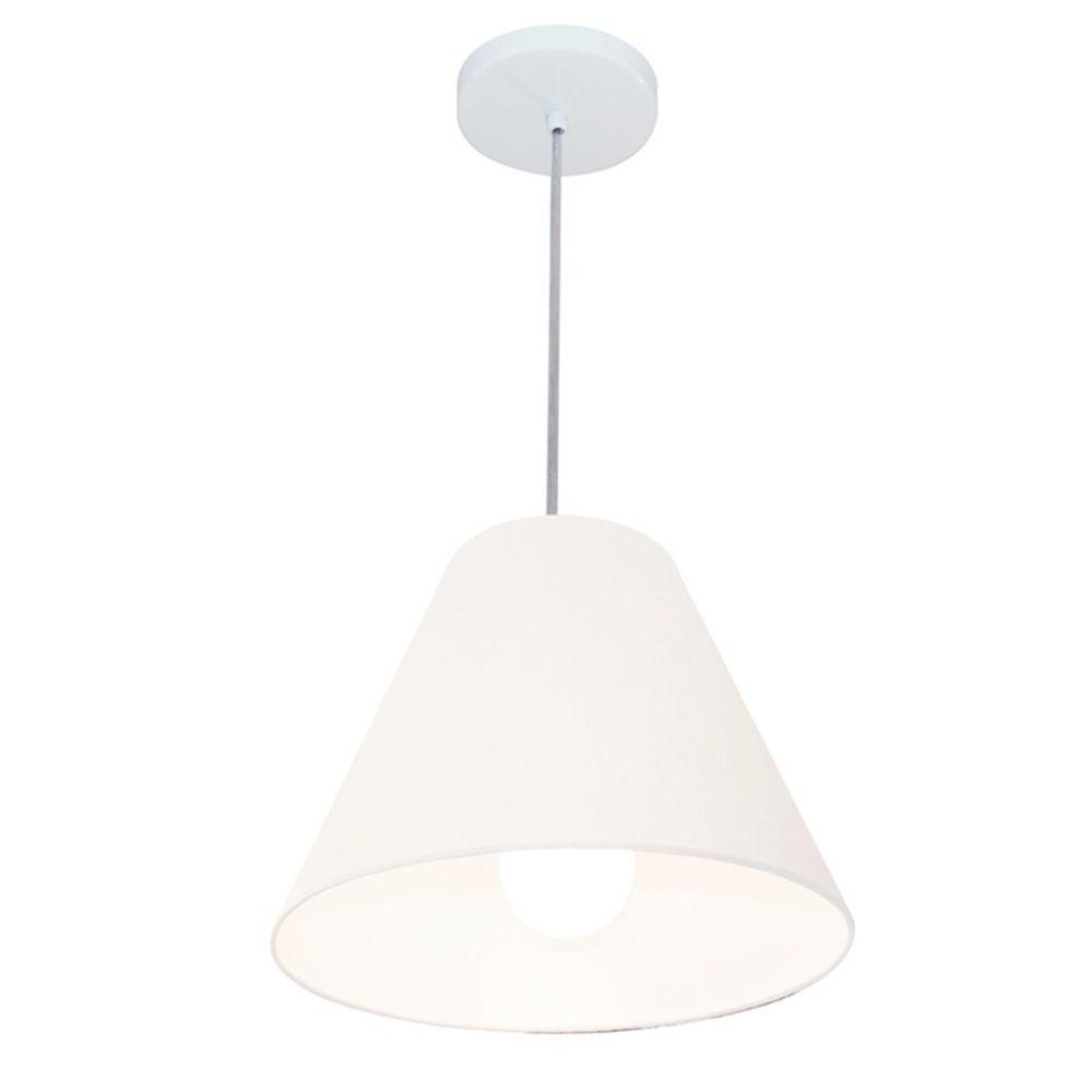 Lustre Pendente Cone Md-4028 Cúpula em Tecido 25/30x12cm Branco - Bivolt