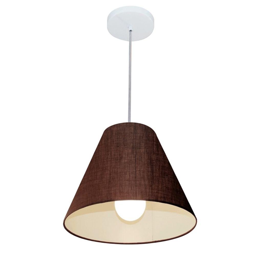 Lustre Pendente Cone Md-4028 Cúpula em Tecido 25/30x12cm Café - Bivolt