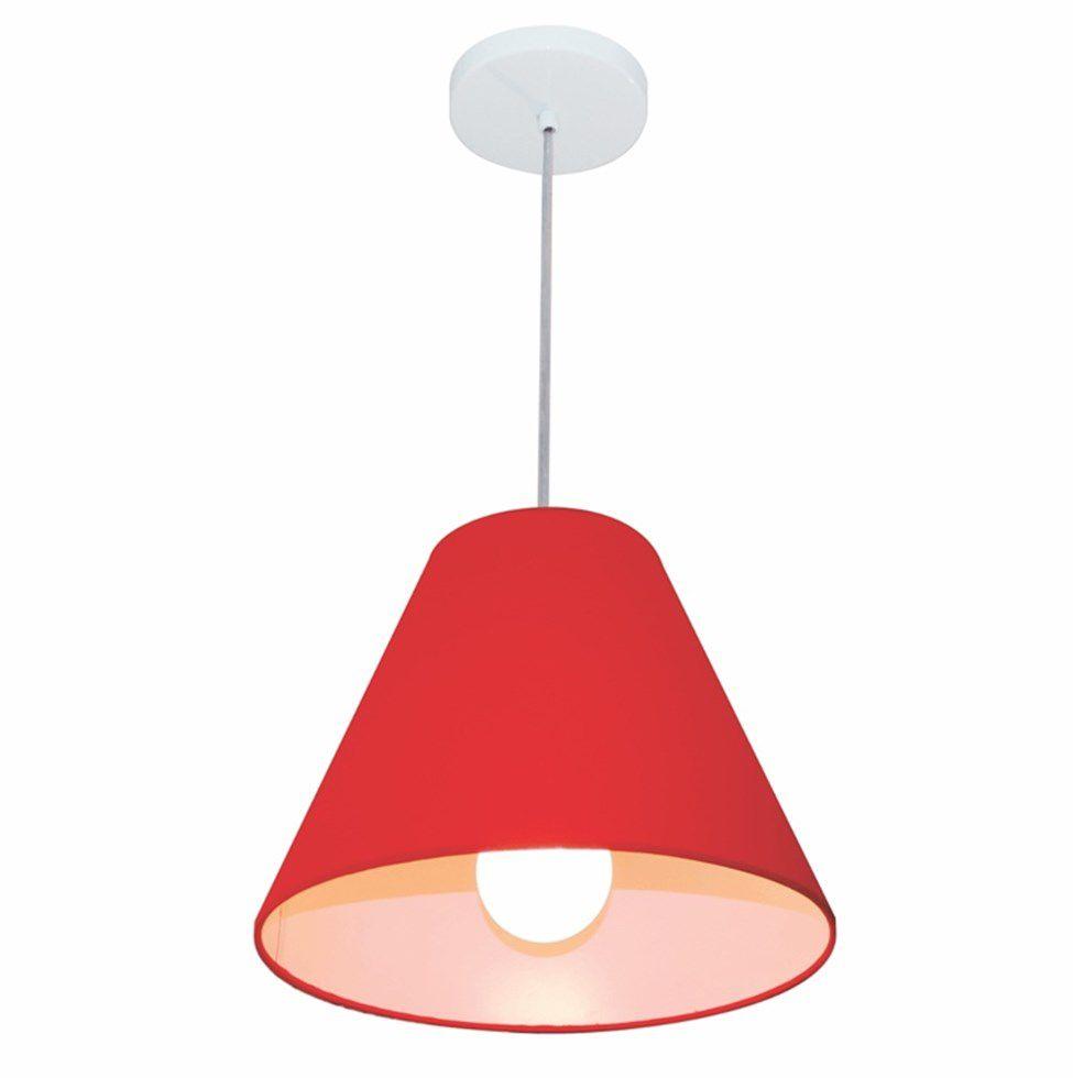 Lustre Pendente Cone Md-4028 Cúpula em Tecido 25/30x12cm Vermelho - Bivolt