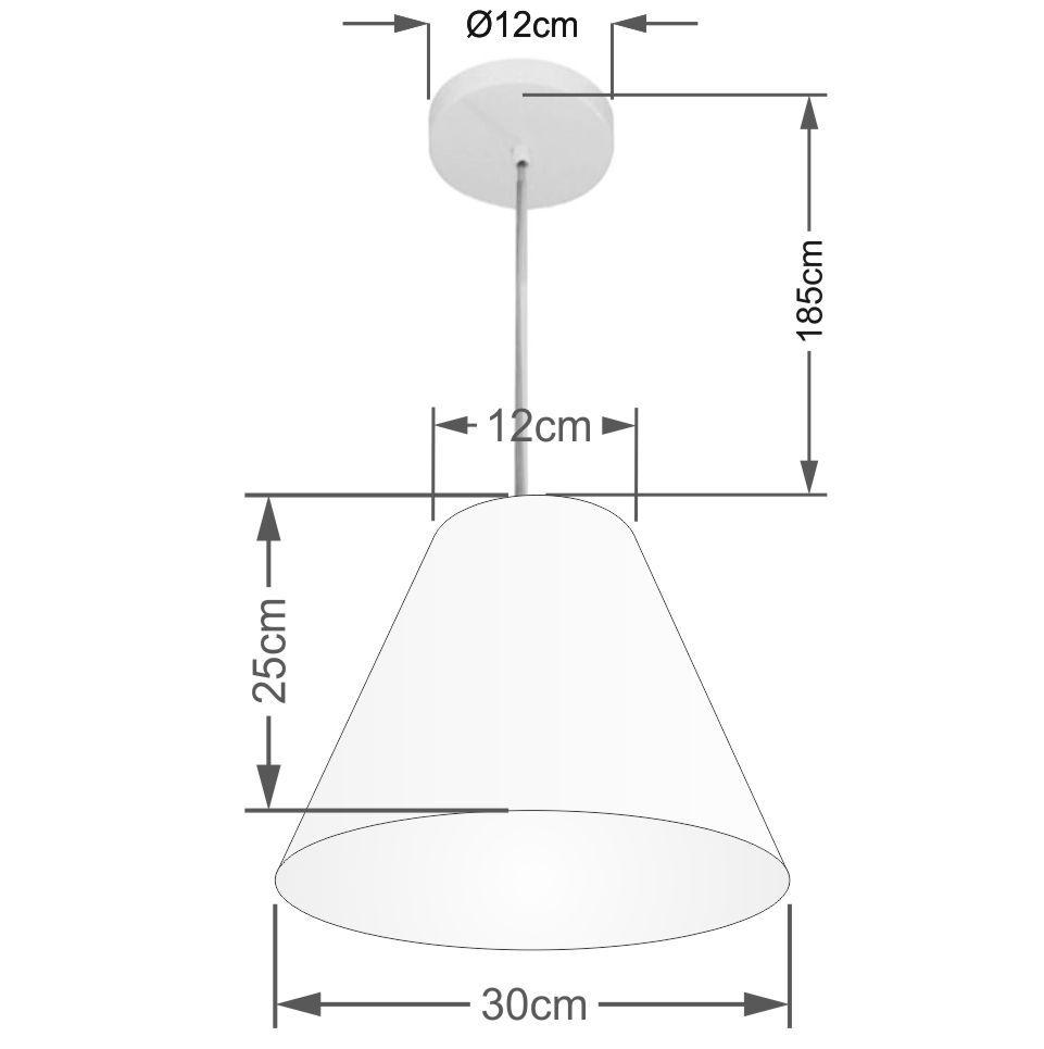 Lustre Pendente Cone Md-4028 Cúpula em Tecido 25/30x12cm Algodão Crú - Bivolt