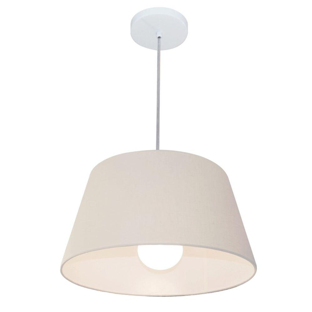 Lustre Pendente Cone Md-4039 Cúpula em Tecido 21/40x30cm Branco - Bivolt