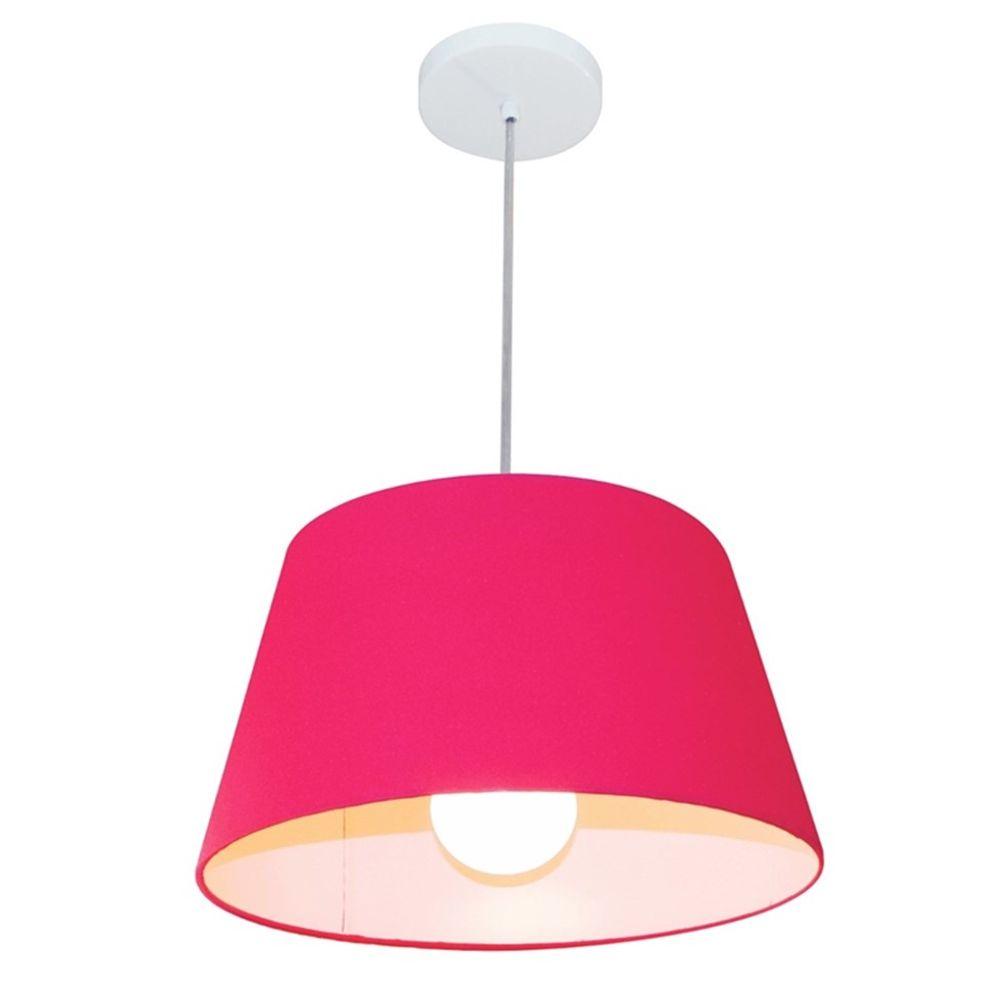 Lustre Pendente Cone Md-4039 Cúpula em Tecido 21/40x30cm Rosa Pink - Bivolt