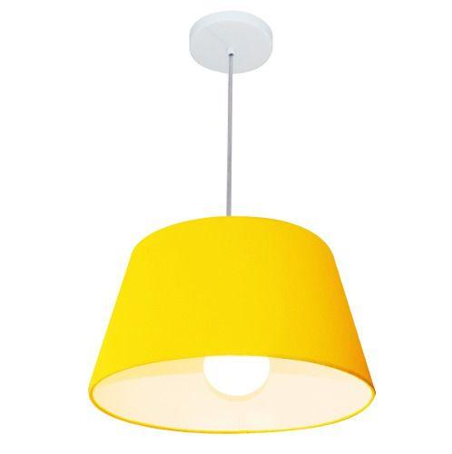 Lustre Pendente Cone Md-4039 Cúpula em Tecido 21/40x30cm Amarelo - Bivolt