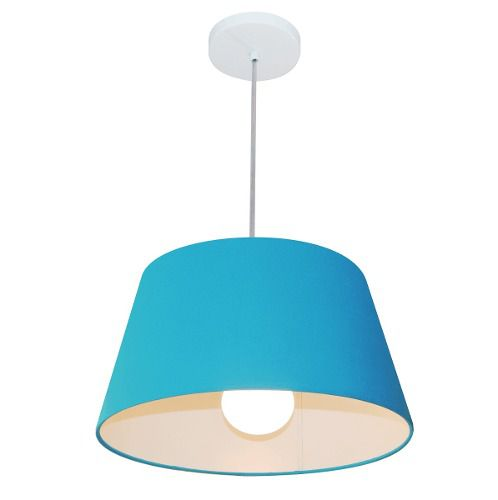 Lustre Pendente Cone Md-4039 Cúpula em Tecido 21/40x30cm Azul Turquesa - Bivolt