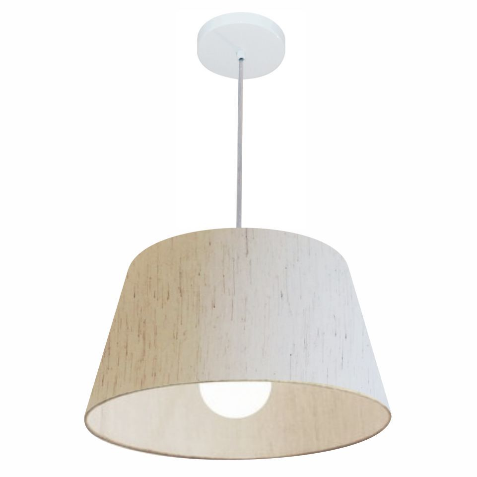 Lustre Pendente Cone Md-4039 Cúpula em Tecido 21/40x30cm Linho Bege - Bivolt