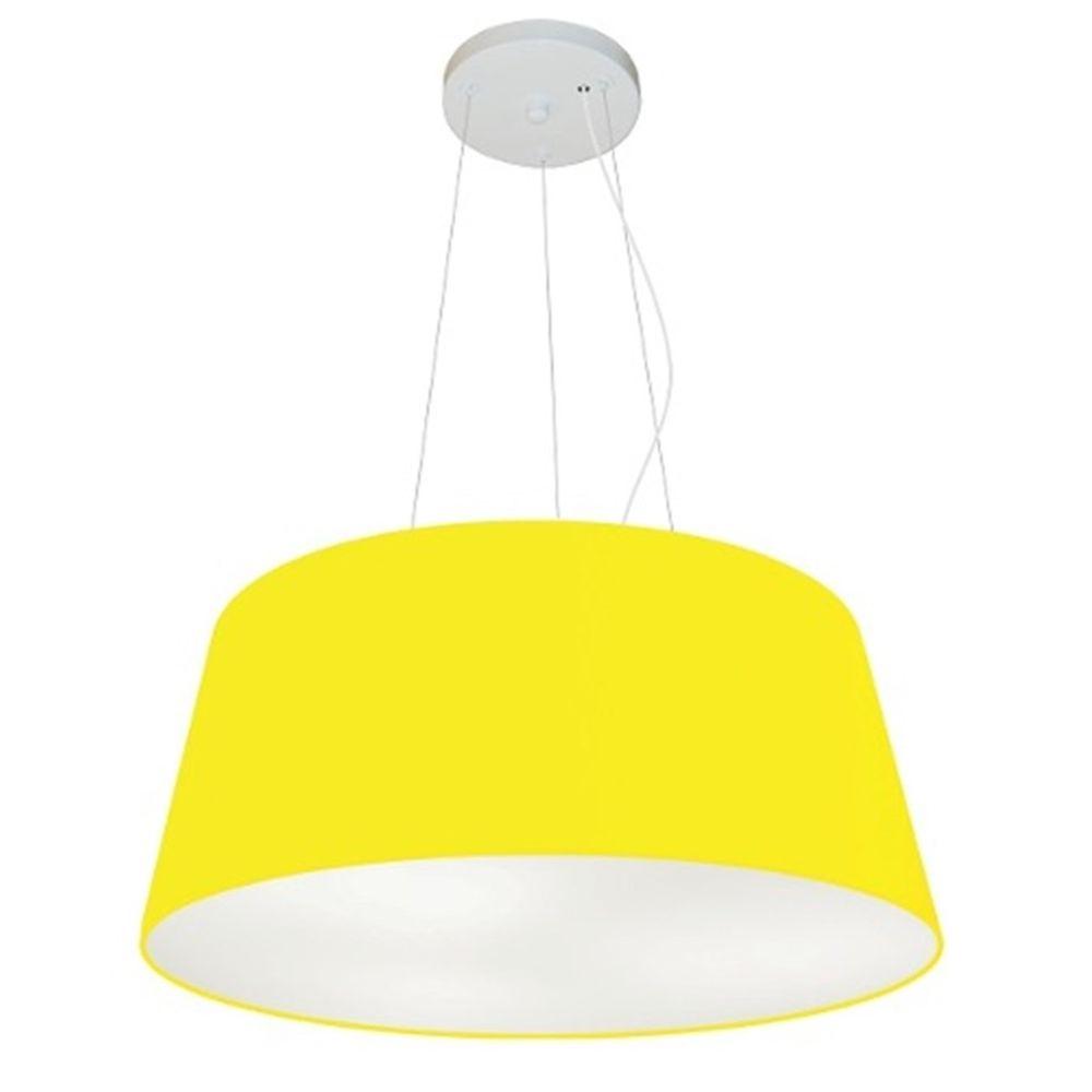 Lustre Pendente Cone Md-4048 Cúpula em Tecido 21/50x40cm Amarelo - Bivolt