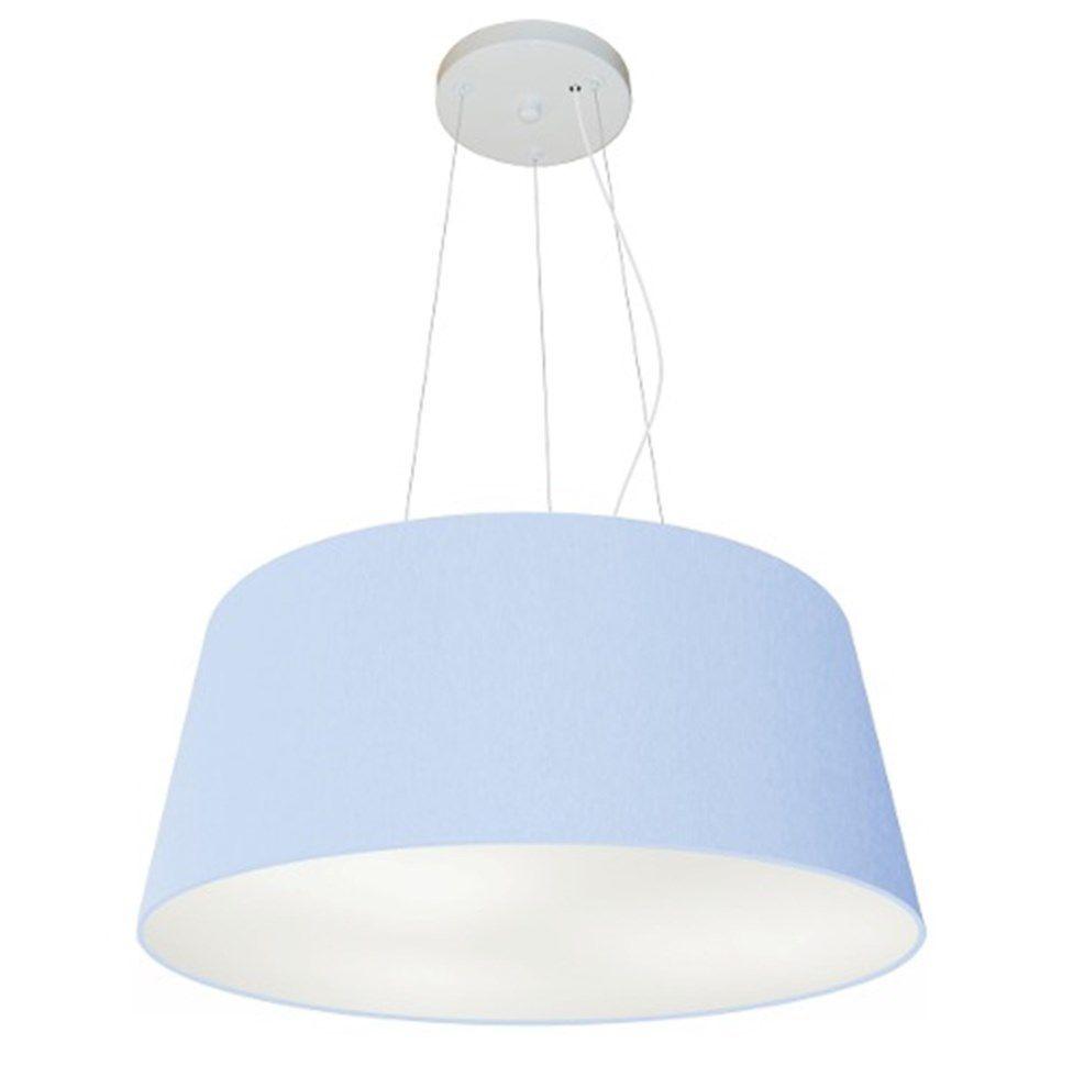 Lustre Pendente Cone Md-4048 Cúpula em Tecido 21/50x40cm Azul Bebê - Bivolt