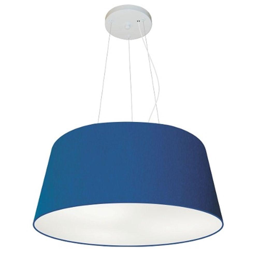 Lustre Pendente Cone Md-4048 Cúpula em Tecido 21/50x40cm Azul Marinho - Bivolt