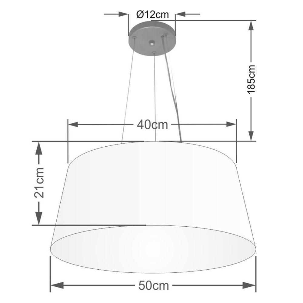 Lustre Pendente Cone Md-4048 Cúpula em Tecido 21/50x40cm Rosa Bebê - Bivolt