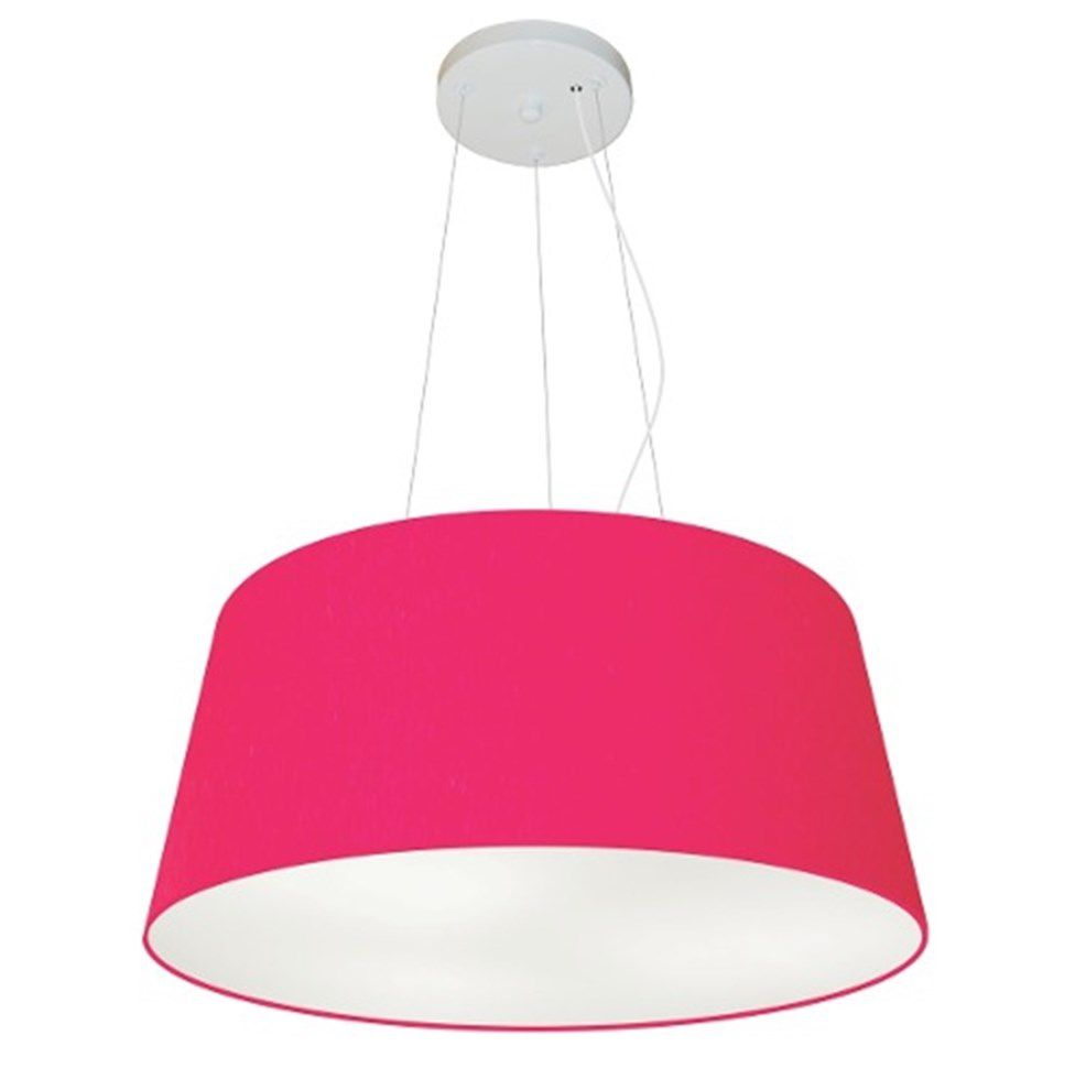 Lustre Pendente Cone Md-4048 Cúpula em Tecido 21/50x40cm Rosa Pink - Bivolt