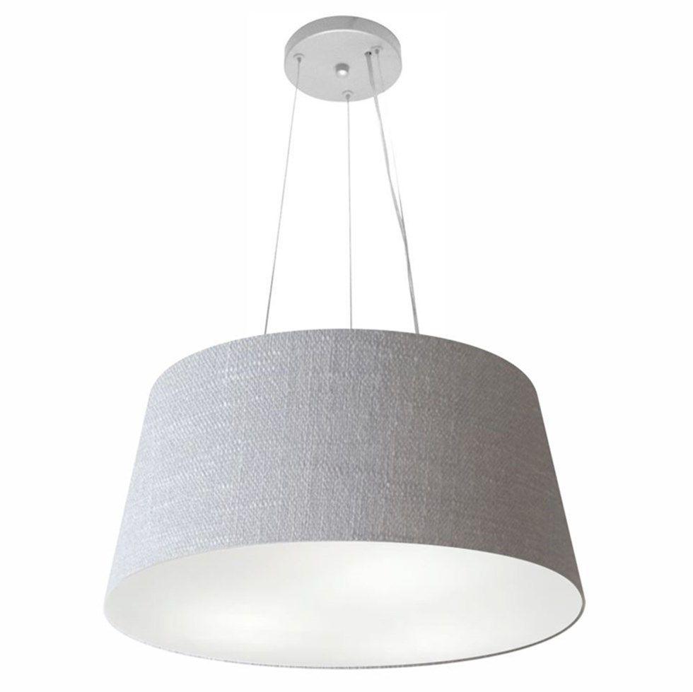 Lustre Pendente Cone Md-4048 Cúpula em Tecido 21/50x40cm Rustico Cinza - Bivolt