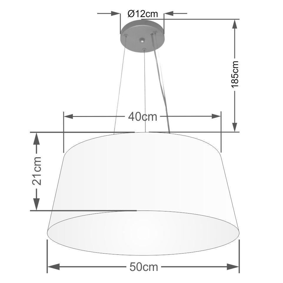 Lustre Pendente Cone Md-4048 Cúpula em Tecido 21/50x40cm Algodão Crú - Bivolt