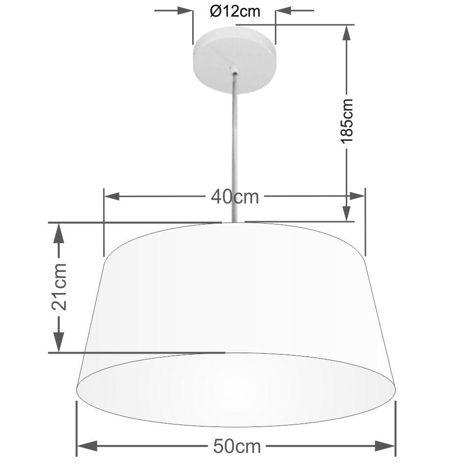 Lustre Pendente Cone Md-4050 Cúpula em Tecido 21/50x40cm Branco - Bivolt