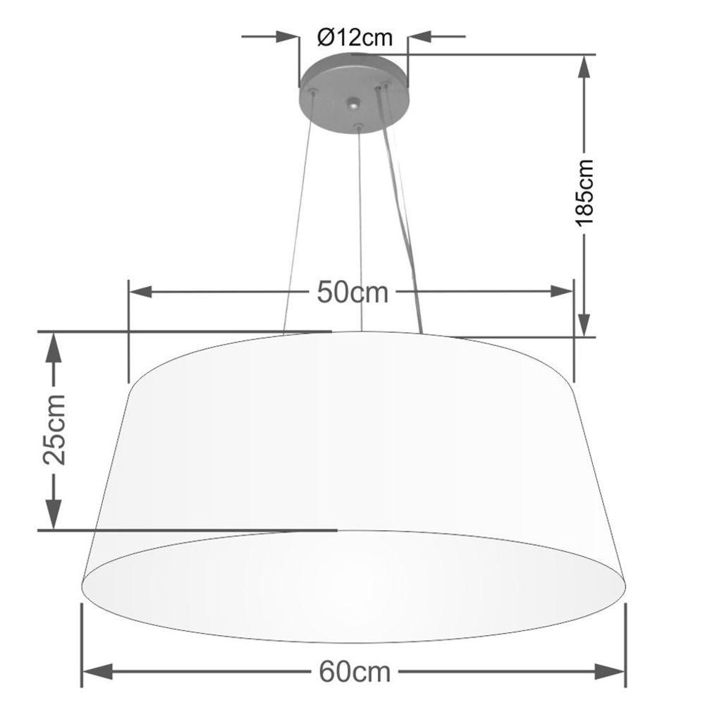 Lustre Pendente Cone Md-4062 Cúpula em Tecido 25/60x50cm Algodão Crú - Bivolt