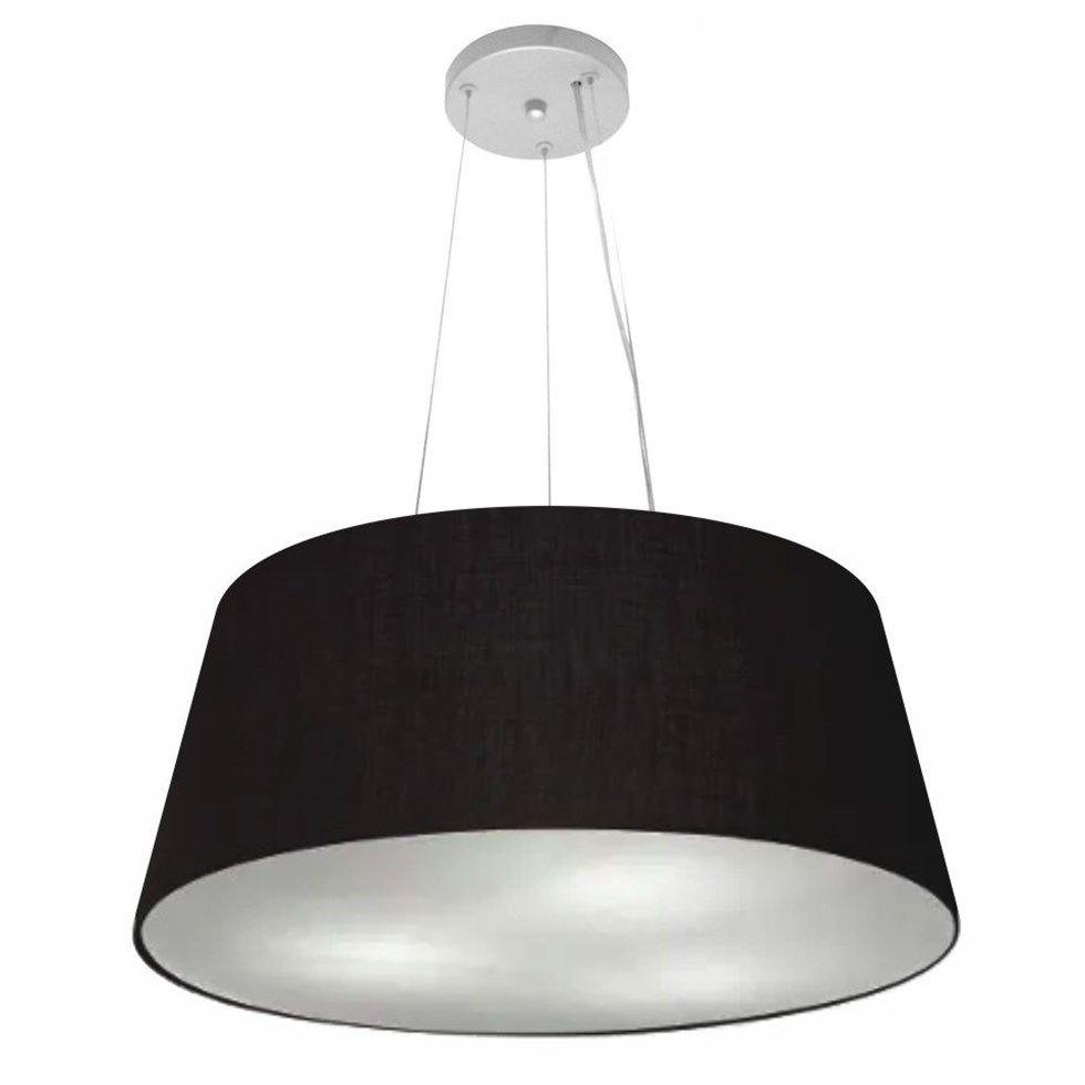 Lustre Pendente Cone Md-4062 Cúpula em Tecido 25/60x50cm Preto - Bivolt