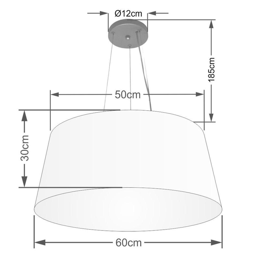 Lustre Pendente Cone Md-4063 Cúpula em Tecido 30/60x50cm Palha - Bivolt