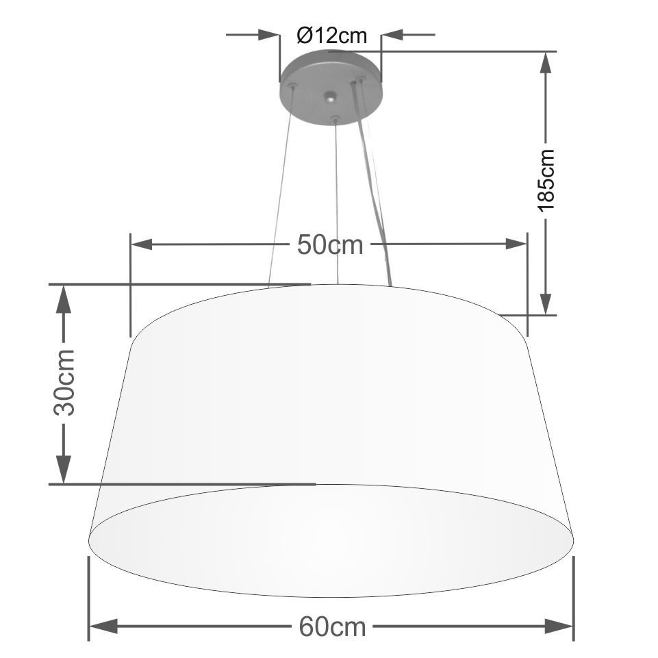 Lustre Pendente Cone Md-4063 Cúpula em Tecido 30/60x50cm Branco - Bivolt