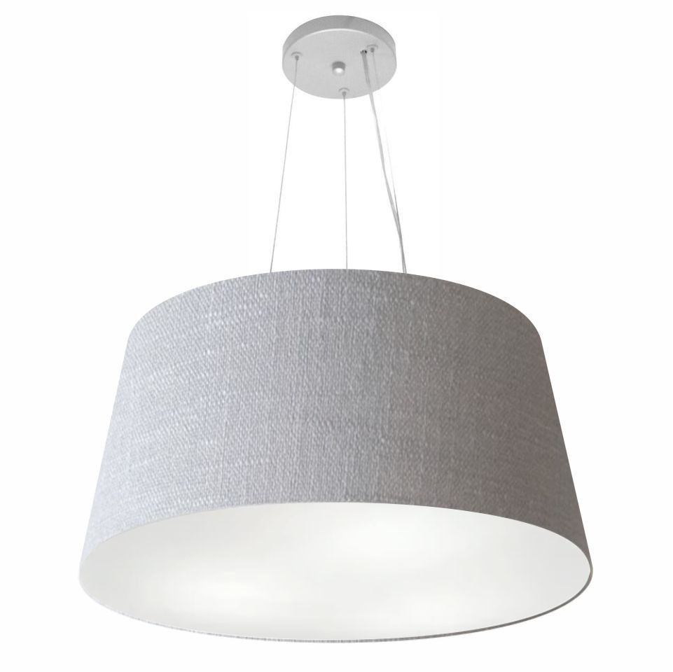 Lustre Pendente Cone Md-4063 Cúpula em Tecido 30/60x50cm Rustico Cinza - Bivolt