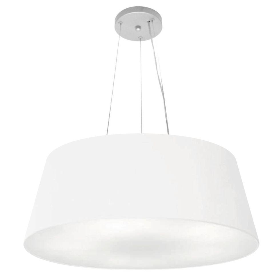 Lustre Pendente Cone Md-4072 Cúpula em Tecido 30/80x65cm Branco - Bivolt