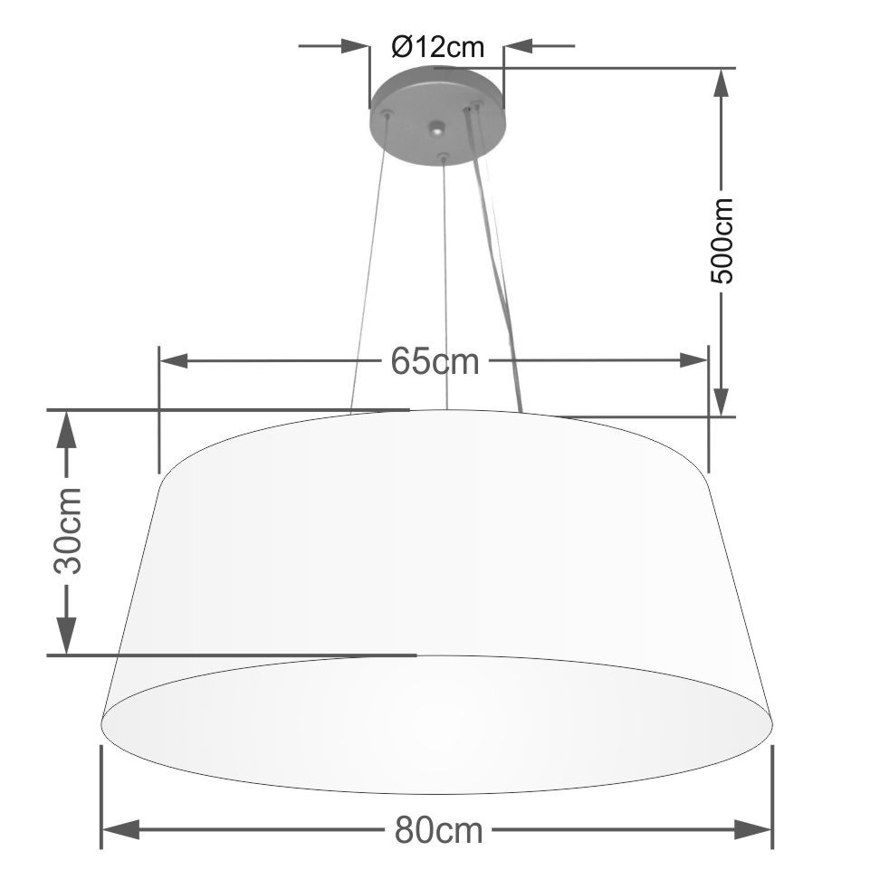 Lustre Pendente Cone Md-4072 Cúpula em Tecido 30/80x65cm Rustico Bege - Bivolt