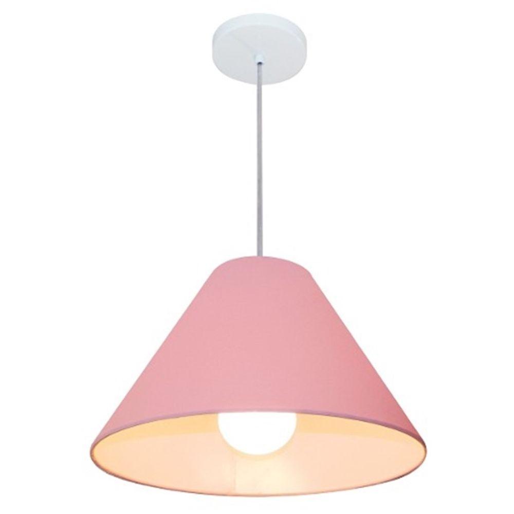 Lustre Pendente Cone Md-4078 Cúpula em Tecido 25/40x15cm Rosa Bebê - Bivolt