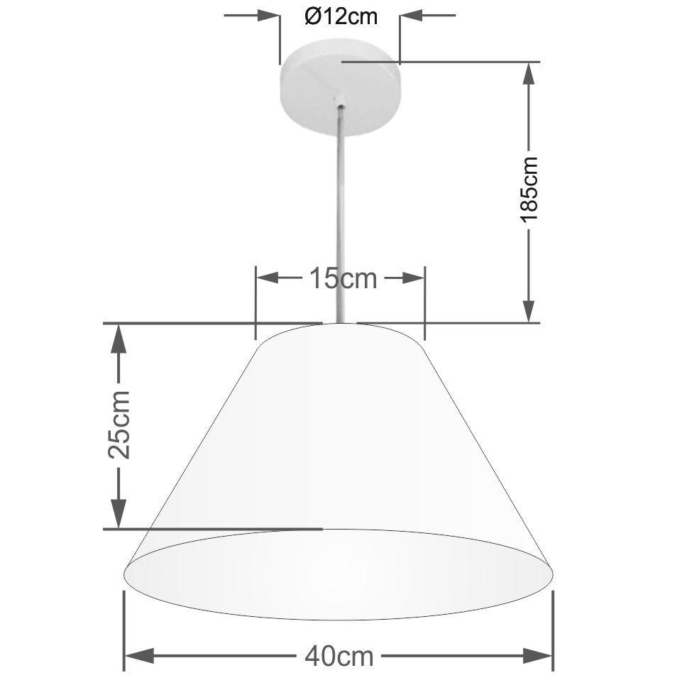 Lustre Pendente Cone Md-4078 Cúpula em Tecido 25/40x15cm Algodão Crú - Bivolt