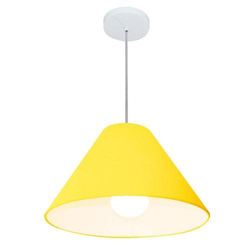 Lustre Pendente Cone Md-4078 Cúpula em Tecido 25/40x15cm Amarelo - Bivolt