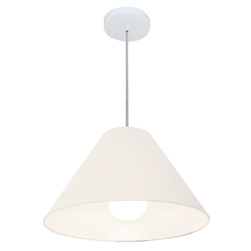 Lustre Pendente Cone Md-4078 Cúpula em Tecido 25/40x15cm Branco - Bivolt