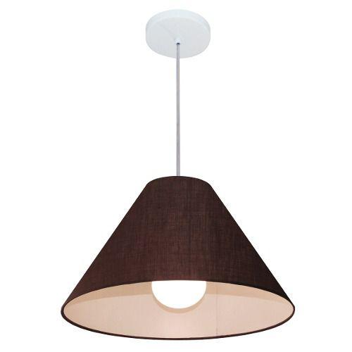Lustre Pendente Cone Md-4078 Cúpula em Tecido 25/40x15cm Café - Bivolt