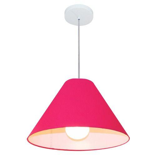 Lustre Pendente Cone Md-4078 Cúpula em Tecido 25/40x15cm Rosa Pink - Bivolt