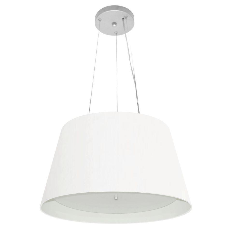 Lustre Pendente Cone Md-4119 Cúpula Forrada em Tecido 21/40x30cm Branco - Bivolt