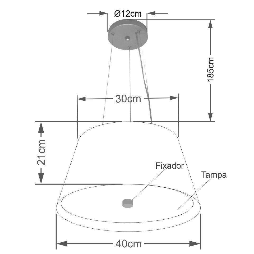 Lustre Pendente Cone Md-4119 Cúpula Forrada em Tecido 21/40x30cm Preto / Vermelho - Bivolt
