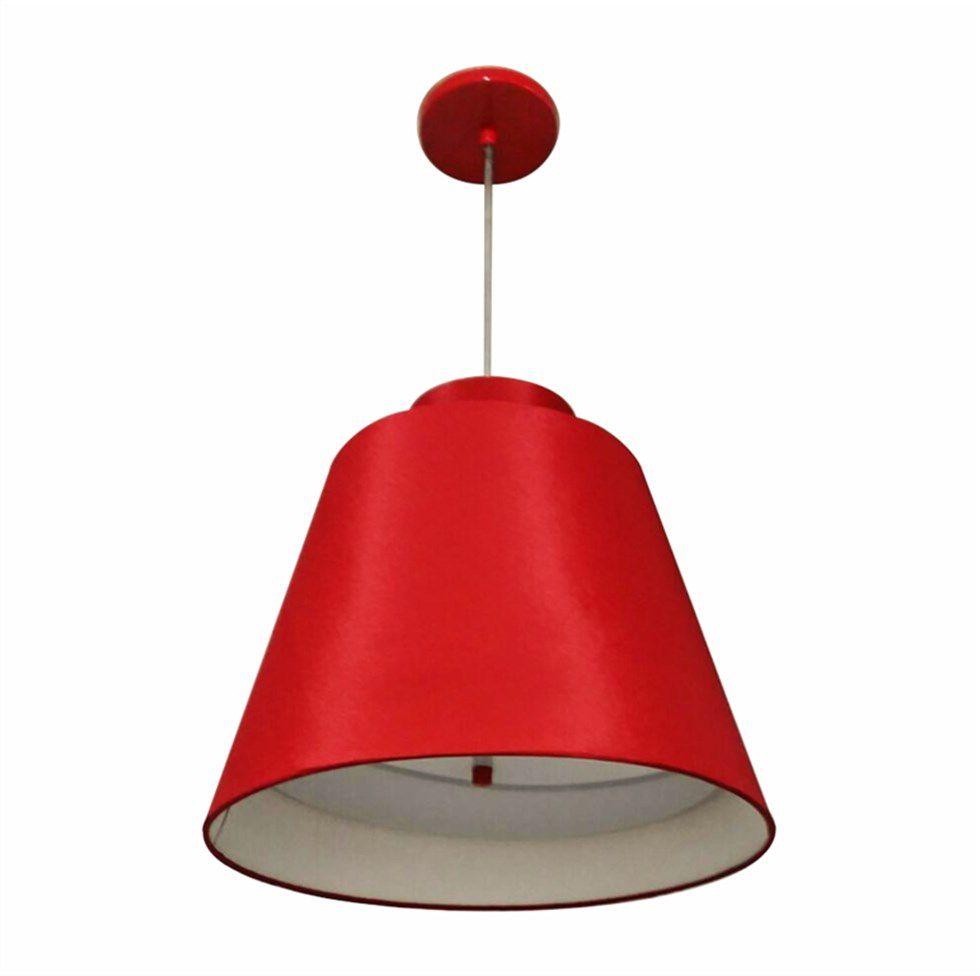 Lustre Pendente Cone Md-4139 Cúpula em Tecido 30/40x25cm Bordo C/ Chapeuzinho - Bivolt