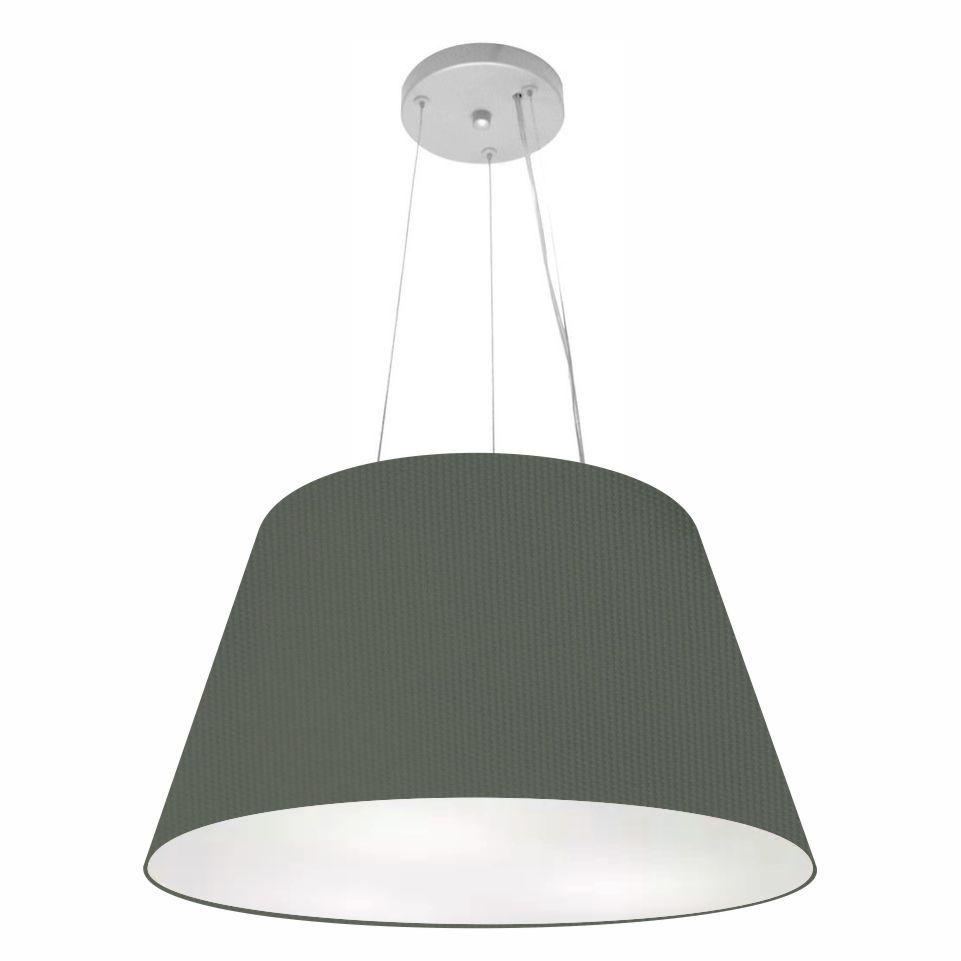 Lustre Pendente Cone Md-4141 Cúpula em Tecido 30/50x35cm Cinza Escuro - Bivolt