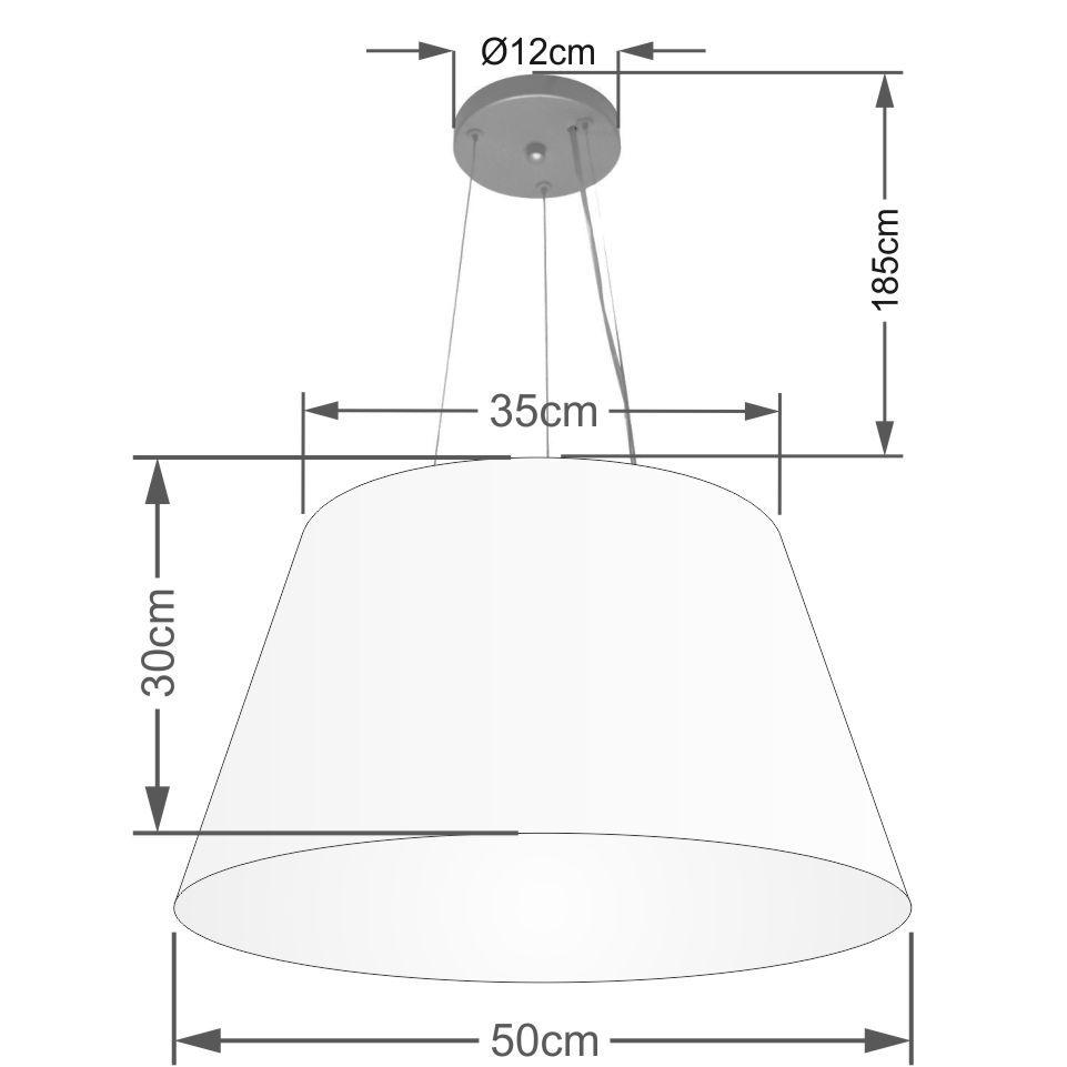 Lustre Pendente Cone Md-4141 Cúpula em Tecido 30/50x35cm Linho Bege - Bivolt