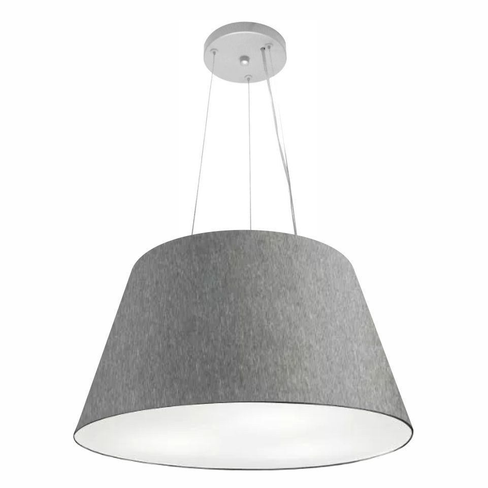 Lustre Pendente Cone Md-4141 Cúpula em Tecido 30/50x35cm Rustico Cinza - Bivolt