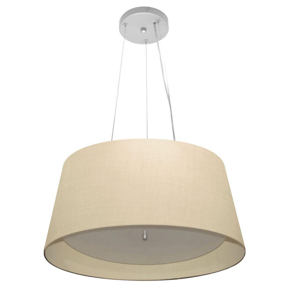 Lustre Pendente Cone Md-4144 Cúpula Forrada em Tecido 25x50x40cm Algodão Crú / Bege - Bivolt