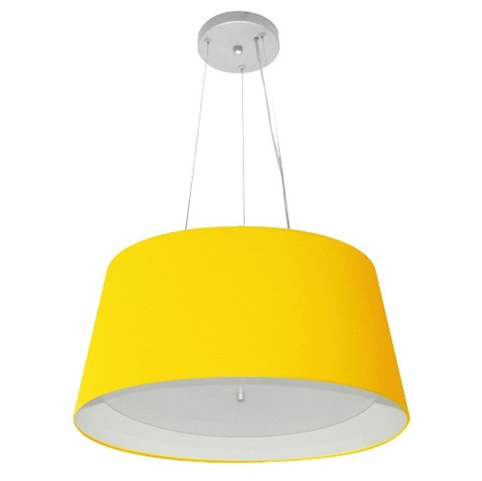 Lustre Pendente Cone Md-4144 Cúpula Forrada em Tecido 25x50x40cm Amarelo / Branco - Bivolt
